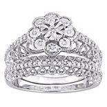 Stella Grace Sterling Silver 1/6 Carat T.W. Diamond Vintage Engagement Ring Set