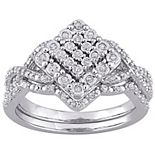 Stella Grace Sterling Silver 1/4 Carat T.W. Diamond Vintage Engagement Ring Set