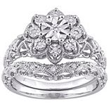 Stella Grace Sterling Silver 1/10 Carat T.W. Diamond Vintage Engagement Ring Set