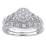 Stella Grace Sterling Silver 1/5 Carat T.W. Diamond Vintage Engagement Ring Set