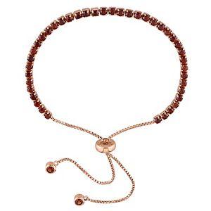 Stella Grace 18k Rose Gold Over Silver Garnet Tassel Bolo Bracelet