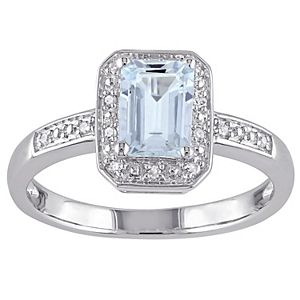 Stella Grace Sterling Silver Aquamarine & Diamond Accent Fashion Ring