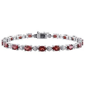 Stella Grace Sterling Silver Garnet & Diamond Accent Tennis Bracelet
