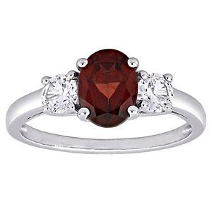 Stella Grace Sterling Silver Garnet & Lab Created White Sapphire 3-Stone Ring