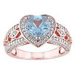Stella Grace 18k Rose Gold Over Silver Sky Blue Topaz & 1/10 Carat T.W. Diamond Vintage Heart Ring
