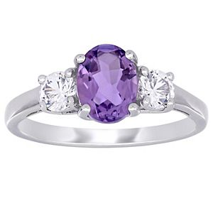 Stella Grace Sterling Silver Amethyst & Lab Created White Sapphire 3-Stone Ring