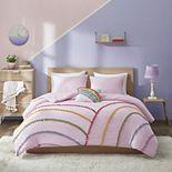 Mi Zone Naomi Rainbow Comforter Set With Pompom Trim
