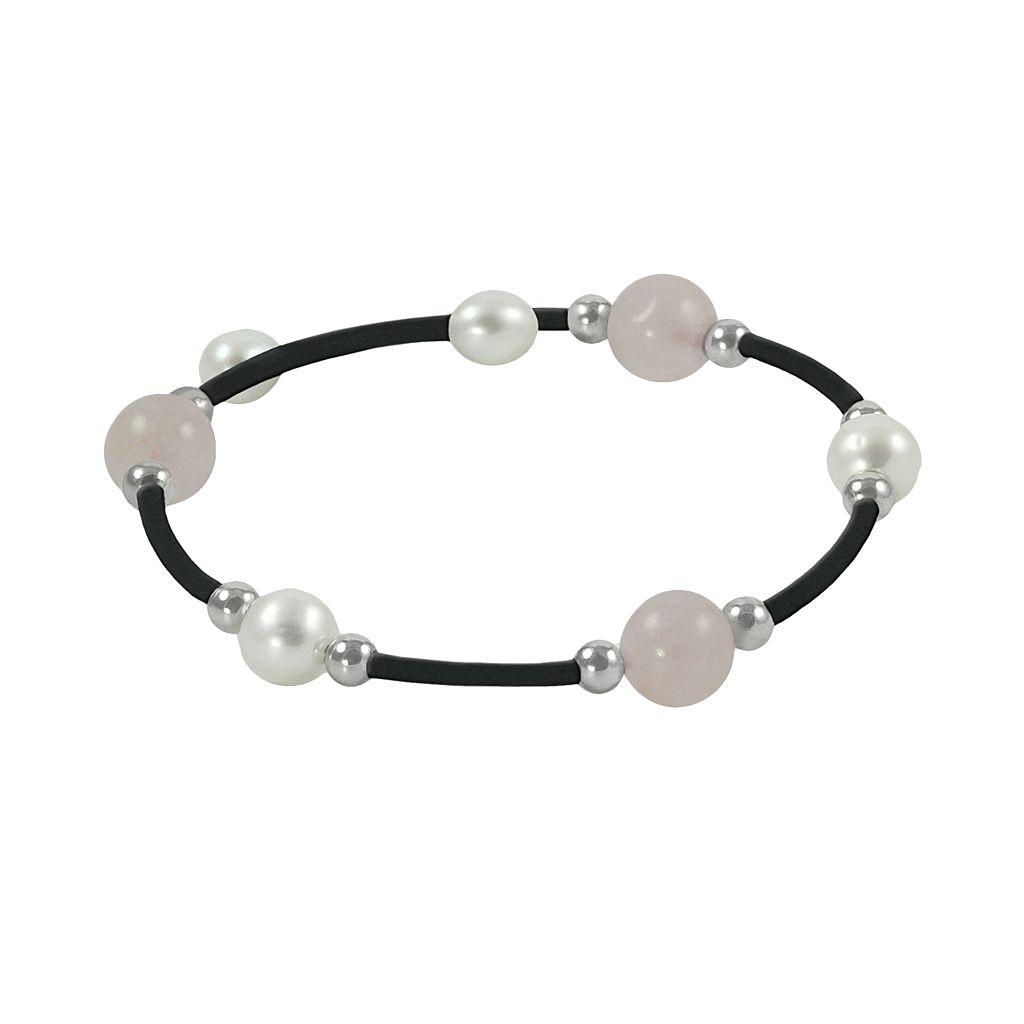 Sterling Silver Freshwater Cultured Pearl & Rose Quartz Stretch Bracelet
