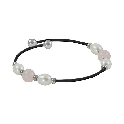 Sterling Silver Freshwater Cultured Pearl and Rose Quartz Stretch Bracelet