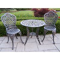 Oakland Living Tea Rose 3 pc Patio Bistro Set - Outdoor