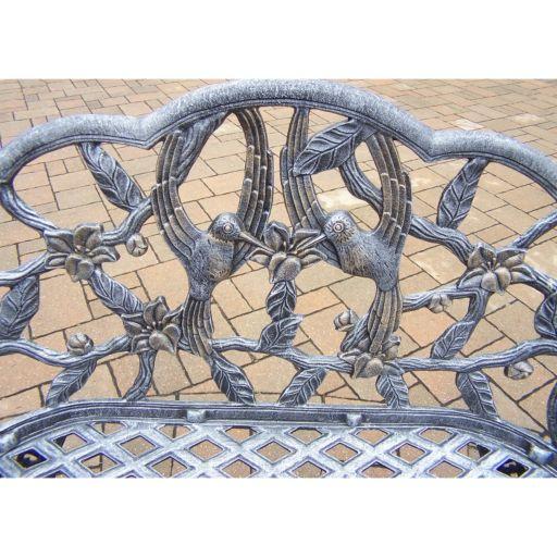 Hummingbird Cast Aluminum Outdoor Bench
