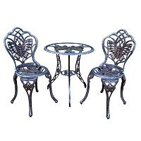Butterfly Cast Aluminum Outdoor Bistro Table 3 pc Set