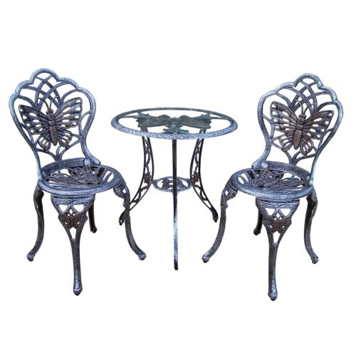 Butterfly Cast Aluminum Outdoor Bistro Table 3 Piece Set