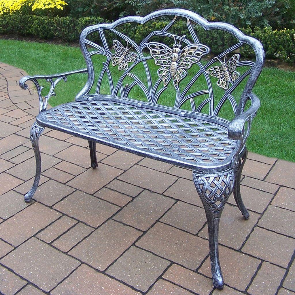 Butterfly Cast Aluminum Outdoor Bench