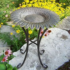 Oakland Living Sunflower Scroll Birdbath - Outdoor