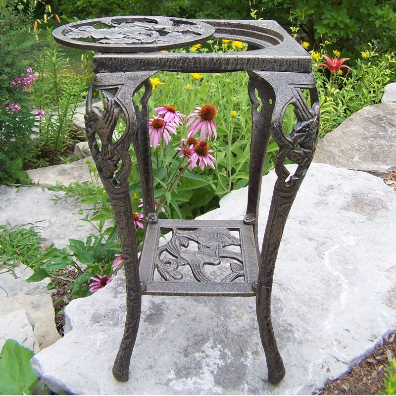 Hummingbird Table Plant Stand, Brown Oth