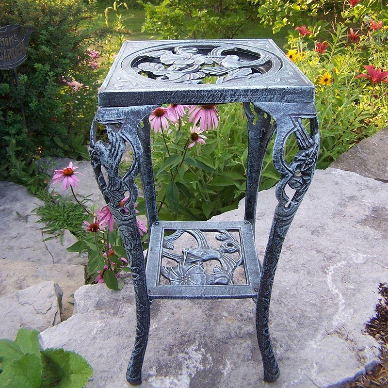 Hummingbird Table Plant Stand, Grey