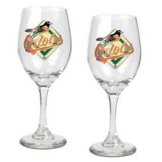 Baltimore Orioles 2-pc. Wine Glass Set
