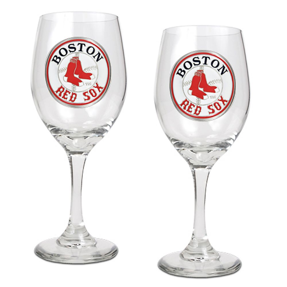 red sox 2-pc. wine glass set
