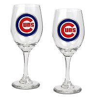 Chicago Cubs 2 pc Wine Glass Set