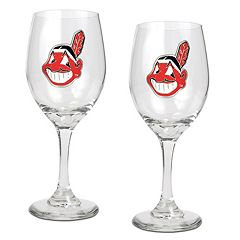 Cleveland Indians 2 pc Wine Glass Set