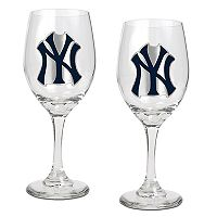 New York Yankees 2 pc Wine Glass Set