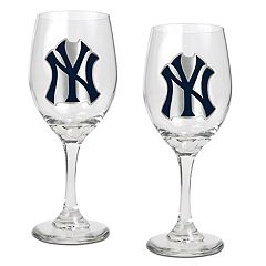 New York Yankees 2 pc Wine Glass Set