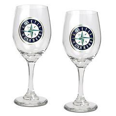 Seattle Mariners 2 pc Wine Glass Set
