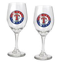 Texas Rangers 2 pc Wine Glass Set