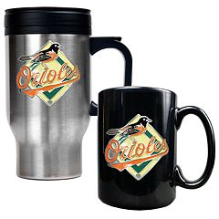 Baltimore Orioles 2 pc Travel Mug Set