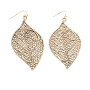 daisy fuentes Filigree Leaf Drop Earrings