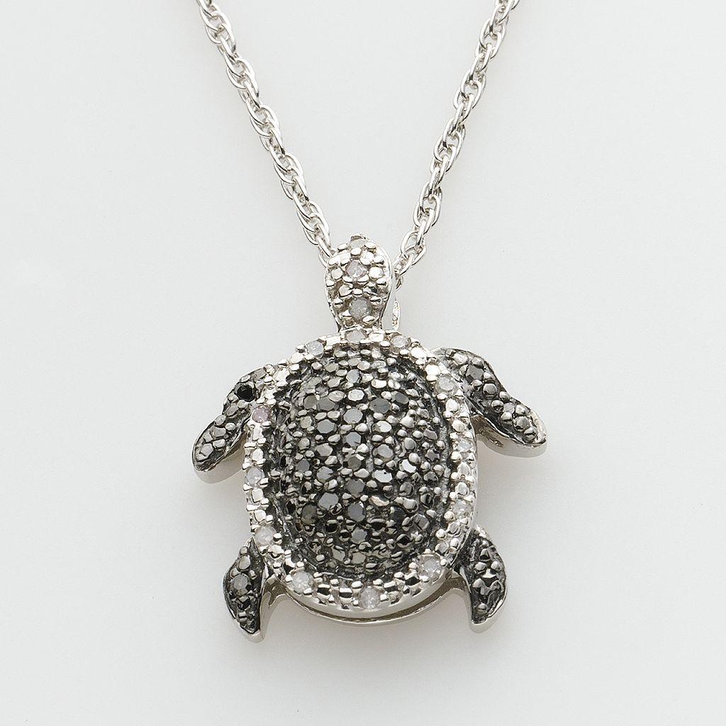 Sterling Silver 1/4-ct. T.W. Round-Cut Black & White Diamond Turtle Pendant