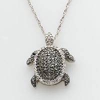 Sterling Silver 1/4 ctT.W. Round-Cut Black & White Diamond Turtle Pendant