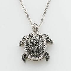 Sterling Silver 1/4-ct. T.W. Round-Cut Black & White Diamond Turtle Pendant