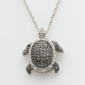 Sterling Silver 1/4-ct. T.W. Round-Cut Black and White Diamond Turtle Pendant