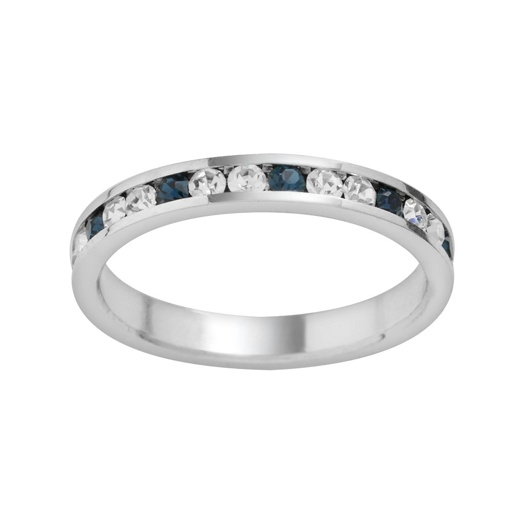 Traditions Sterling Silver Blue & White Swarovski Crystal Eternity Ring