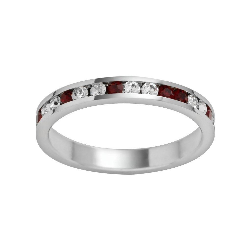 Traditions Sterling Silver Red & White Swarovski Crystal Eternity Ring