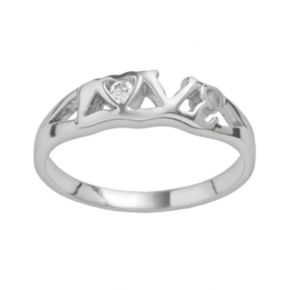 Rhodium-Plated Sterling Silver Cubic Zirconia Love Ring