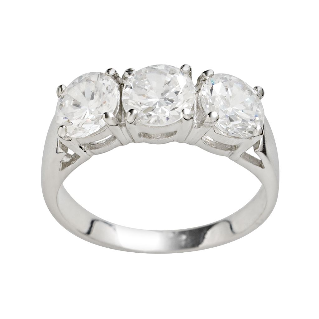 Rhodium-Plated Sterling Silver Cubic ZirconiaRing