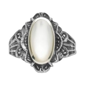 Rhodium-Plated Sterling Silver Mother-of-Pearl Ring