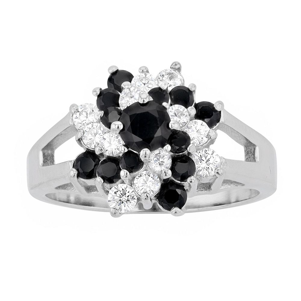 Rhodium-Plated Sterling Silver Cubic Zirconia Ring
