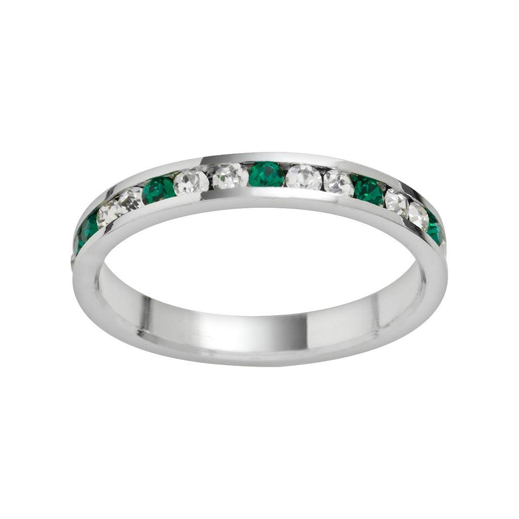 Traditions Sterling Silver Green & White Swarovski Crystal Eternity Ring