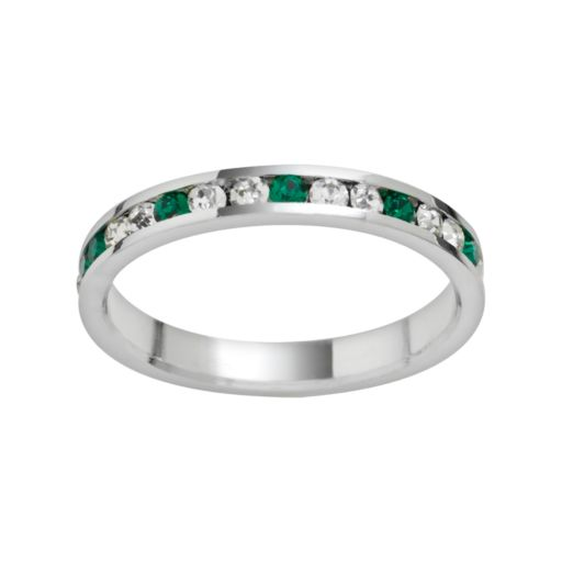 Traditions Sterling Silver Green and White Swarovski Crystal Eternity Ring