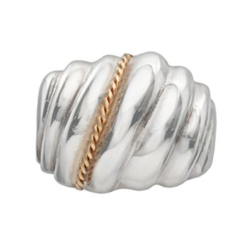 Sterling Silver & 14k Gold Shrimp Dome Ring
