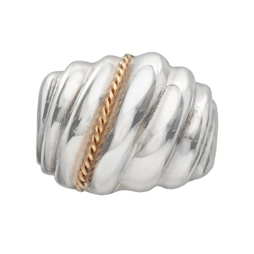 Sterling Silver and 14k Gold Shrimp Dome Ring