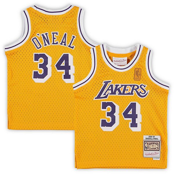 Infant Mitchell & Ness Shaquille O'Neal Gold Los Angeles Lakers ...