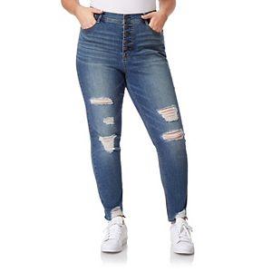 Juniors' Plus Size WallFlower Insta Flex High Rise Flirty Curvy Ankle Jeans