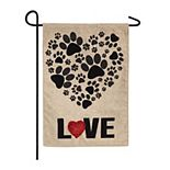 Paw Prints Heart Outdoor Flag