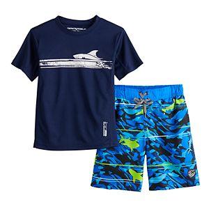 Boys 8-20 ZeroXposur Graphic Top & Shorts Swim Set