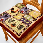 Park B. Smith Rooster and Chicken Tapestry Chair Pad